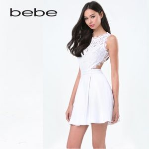 BEBE Carlie Lace Open Back Dress in Bright White